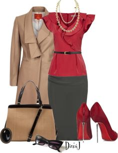 Those shoes are skyscrapers, but we love the rest of this look for a professional wardrobe.
