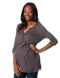 A Pea in the Pod: Convertible Sleeve Tie Front Maternity Shirt A Pea in the Pod. $49.99