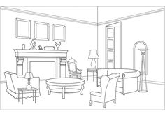 Whether you use it as an activity to calm your senses or simply as a means of relaxation, coloring pages is definitely an ultimate pastime. Here, you can now get your copy of free printable coloring pages for adults, and revel in your childhood pastime. House Colouring Pages, Coloring Pages, Interior Sketch, Interior Design, Drawing Interior, Interior Architecture, Round Table And Chairs, Dining Room Colors, Room Pictures