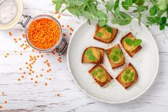 Stock Photo: Delicious bread toast with hummus (pate, pasta, dip) of lentils and carrots with pea sprouts on a white plate. Top view and copy space Bread Toast, Rustic Style, Lentils, Avocado Toast, Hummus, Sprouts, Carrots, Low Carb, Plates