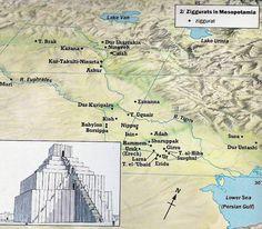 Map of Ziggurat Locations in Sumeria