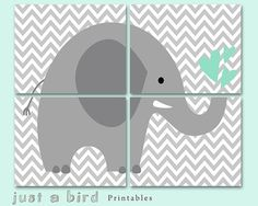 Grey and mint green nursery decoration, Jungle Elephant decor Children Wall Art Kids Room printable elephant art- Four 8x10-INSTANT DOWNLOAD...