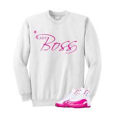 2e401be81a39 Jordan 12 Dynamic Pink White Sweatshirt (Boss Lady