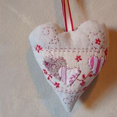 Christmas decoration linen hearts3 by Roxy Creations, via Flickr