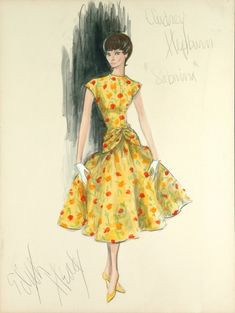 Costume design for Sabrina by Edith Head Tags: Edith Head designer costume design fashion sketch Audrey Hepburn Sabrina vintage Hollywood Fashion, Mode Hollywood, Hollywood Costume, Vintage Fashion Sketches, Fashion Illustration Vintage, Illustration Mode, Fashion Illustrations, Audrey Hepburn, Edith Head