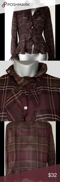 NWOT CHAPS Blouse Beautiful traditional Blouse in maroon, with light tan and subtle olive plaid print. Shirt is sheer but has a maroon tank to wear underneath.  Classic design. Size: XL. Blouse never worn in perfect condition. Chaps Tops Blouses