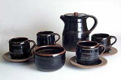 Mystery coffee set. Not Scott Marshall, Boscean Pottery - B mark IB mark England