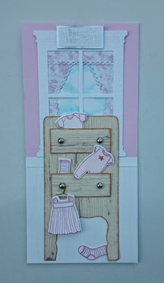 https://www.etsy.com/shop/SarahLouCards Delightful New Baby Girl card featuring Memory Box Grand Madison Window, curtains, dresser and cute baby clothes