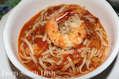Roasted Shrimp Fra Diavolo from Deep South Dish website. Oven roasted shrimp served in a fiery, tomato-based, Italian Fra' Diavolo sauce with pasta. Butter Bean Soup, Roasted Shrimp, Cajun Shrimp, Shrimp Recipes, Sauce Recipes, Fish Recipes, Pasta Recipes, Bread Recipes, Recipies