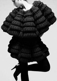 3D Knitwear - knitted dress with shape repetition & tiered structure - sculptural fashion; creative knitting