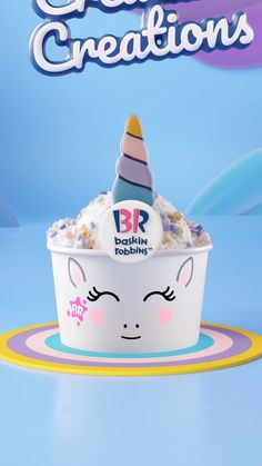 Calling all creatures! You can now turn your favorite flavors into magical Unicorn Creature Creations topped with a chocolate horn and pastel sprinkles. Noragami Bishamon, Diy Magazine Holder, Fiesta Baby Shower, Baskin Robbins, Daughter Birthday, Cafe Food, Coffee Recipes, Chocolate, Iphone