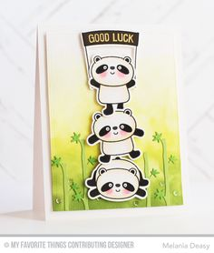 Happy Pandas stamp set and Die-namics - Melania Deasy #mftstamps
