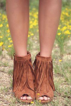 Desert Fringe Rust Zip Up Peep Toe Wedge Ankle Boot With Fringe