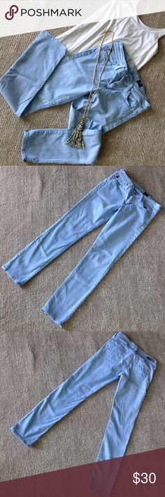"AG "" The Stevie Ankle"" Jean AG Jeans. Style-The Stevie Ankle-Slim, Straight Leg. Baby Blue. Size 25. AG Adriano Goldschmied Jeans Skinny"