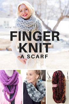 9 Best Finger Knitting Tricks & Projects How to finger knit a scarf 3 easy ways Always aspired to discover how to knit, bu. Diy Finger Knitting Projects, Knitting Blogs, Arm Knitting, Knitting For Beginners, Knitting Patterns, Finger Knitting Scarf, Arm Knit Scarf, Scarf Patterns, Knitting Tutorials