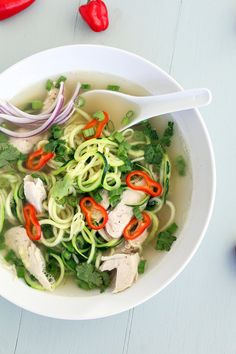 Chicken Pho Zucchini Noodle Soup...would probably make without the chicken but it sounds so good!