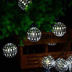10 LED Moroccan Latterns Solar Powered Shining Ball String Light White LED Fairy Lights For Garden Party Christmas Decoration Lantern String Lights, White String Lights, Christmas String Lights, String Lights Outdoor, Ball Lights, Outdoor Christmas Decorations, Globe Lights, Holiday Lights, Light Decorations