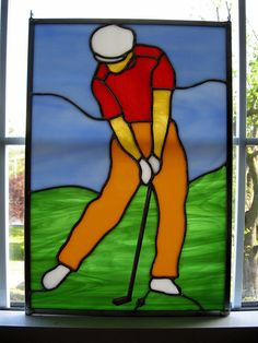 Golfer Stained Glass Panel by StainedGlassYourWay on Etsy, $70.00