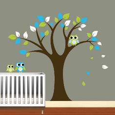 Baby room with tree and owls soo cute.