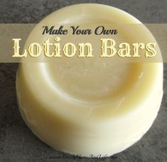 Homemade Lotion Bars ~  For lotion bars you need 1 part bees wax to 2 parts oil, though you can play with amounts to get a bar just right for you. You can scent the lotion bar with essential oils. Really great for 'older' dry skin!  How To @: http://www.familyhomeandlife.com/2013/08/making-your-own-lotion-bars.html