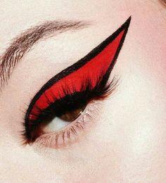 Graphic eye makeup ~ bright red lid with black eyeliner edge Punk Makeup, Makeup Art, Makeup Eyes, Edgy Eye Makeup, Drag Makeup, Maquillage Halloween, Halloween Makeup, Halloween Nails, Makeup Goals