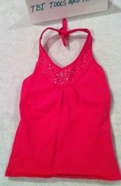 Limited Too Girls Embellished Pink Halter Cami Tee Tshirt Top 10