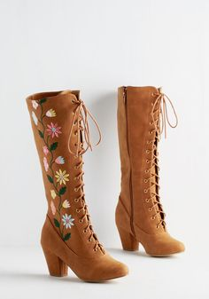 You Grow, Girl! Boot. Show the day what youre made of in these sassy, cognac-brown boots by Bait Footwear! #tan #modcloth