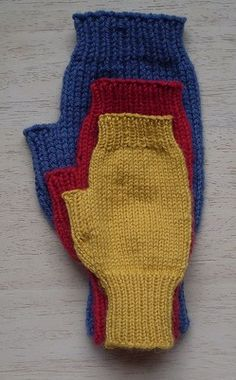 Simple Mitts-This pattern is available as a free Ravelry download. These fingerless mitts are knitted all in one piece. The same pattern will give three different sizes when worked in different weights of yarn so you can knit a pair for everyone.