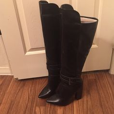 Black Just Fab over the knee faux leather boots 9 Never worn and very hot!! Black faux leather, buckle detail. Heel height is actually 4 inches. Just Fab Shoes Over the Knee Boots