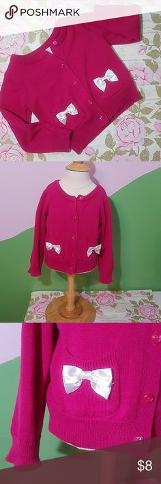 💜Beautiful Sweater💜 Cute hot pink cardigan with beautiful white bows Excellent condition  18 to 24 mo Children's Place Shirts & Tops
