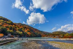 Katsura River in front of Arashiyama Mountain in Kyoto #kyoto #arashiyama #japan #wattention #river #autumn #cooljapan #traveltips #travel #nature #amazing #photo