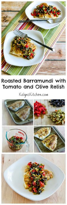Low-Carb Roasted Barramundi with Tomato and Olive Relish - Barramundi is the new fish that people are raving about, and this Roasted Barramundi with Tomato an - Easy Fish Recipes, Easy Healthy Recipes, Seafood Recipes, Paleo Recipes, Easy Meals, Olive Recipes, Drink Recipes, Healthy Food, Healthy Eating