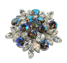 Vintage Rhinestone Brooch Snowflake Brooch AB by CommonCentsThrift