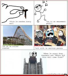 Page 30 - Rage Comics - Ragestache Rollercoaster ride----- HAHAHAHAHAHAHA my dad would not stop laughing for 5 mins Funny Cartoons, Funny Jokes, Hilarious, Stupid Memes, Funny Signs, Derp Comics, Funny Comics, Look Girl, Super Funny