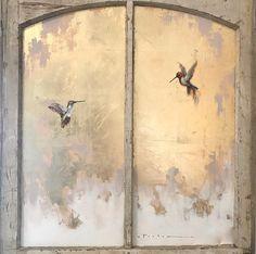 Gold Leaf Art, Gold Art, Feuille D'or, Hummingbird Art, Bird Artwork, Arte Popular, Acrylic Art, Oeuvre D'art, Seascape Paintings