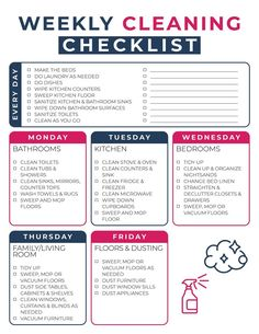 Weekly Cleaning Schedule Printable, Clean House Schedule, Spring Cleaning Checklist, New House Checklist, Weekly Chore List, New Apartment Checklist, Cleaning Schedule Templates, First Apartment Checklist, Apartment Cleaning Schedule