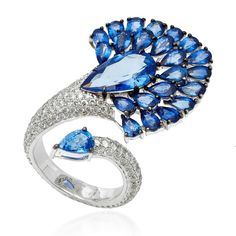 Diamond Rings : SUTRA Sapphire Fan Ring featured on for trunk show during - Buy Me Diamond Blue Sapphire Rings, Sapphire Jewelry, Diamond Rings, Diamond Jewelry, Jewelry Rings, Fine Jewelry, Jewellery, Bead Jewelry, Silver Jewelry