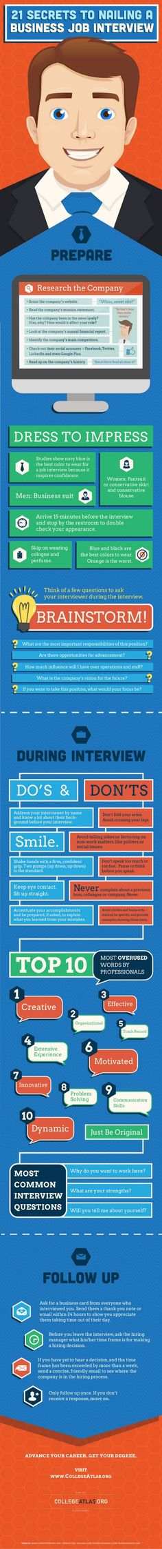 21 secrets to nailing a job interview - what color is best to wear, what questions to ask, body language to avoid, and more #infographic