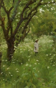 "1920 ~ ""The Orchard"" Oil on Canvas by Thomas Cooper Gotch aka T.C. Gotch (1854–1931), English Pre-Raphaelite Painter & Book Illustrator .... now in the Alfred East Art Gallery Permanent Collection, UK ...."