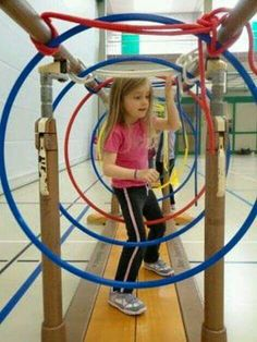 Great for motor planning and balance Motor Skills Activities, Kids Learning Activities, Gross Motor Skills, Sensory Activities, Sensory Rooms, Pediatric Physical Therapy, Physical Education, Preschool Gymnastics, Children's Gymnastics