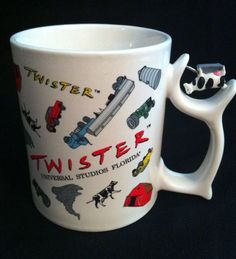 Universal Studios Florida 1996 Twister Movie Mug With Spinning Cow On Handle