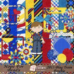 Scrapbooking Blog Train - April 2013, Hope for Brady.  Lots of great digital scrapbooking freebies!