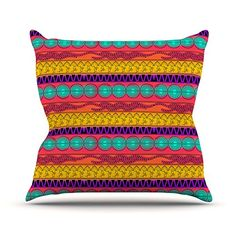 KESS InHouse FM1020AOP03 18 x 18-Inch 'Famenxt Pattern Watercolour Colourful Pattern' Outdoor Throw Cushion - Multi-Colour *** Visit the image link more details. (This is an affiliate link) #GardenFurnitureandAccessories