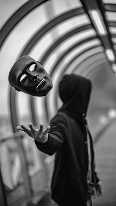 I really enjoy this photo especially how the shutter speed was able to get the image of the mask falling and how they got it to face the camera. but I don't like the fact the actual man is blurred into the background Dark Photography, Creative Photography, Portrait Photography, Artistic Photography, Photography Tricks, Monochrome Photography, Nikon Photography, Photoshop, Photo Hacks