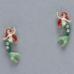 $13.50 Mermaid Earrings, Painted Gold, Green, White & Red with Small Rhinestones Value Line, http://www.amazon.com/dp/B008UASHC0/ref=cm_sw_r_pi_dp_FaBYqb0RS08YQ