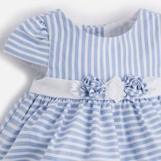 Two piece stripe dress with three flowers Striped Dress, Summer Dresses, Spain, Cotton, Flowers, Design, Fashion, Vestidos, Striped Dress Outfit