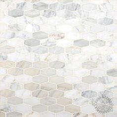 Carrara White 1 1 4 X 3 Elongated Hexagon Mosaic Tile Honed