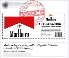 Marlboro 'Ten Free Cigarette Carton Giveaway' Facebook Scam
