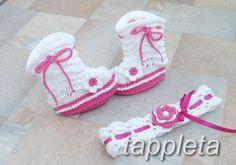 Пинетки – сапожки и повязка на голову для девочки 0-12 мес., вязанный комплект, белый, фуксия