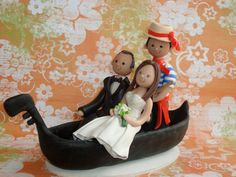 Bride & Groom on Gondola Personalized Wedding Cake by mudcards, $175.00